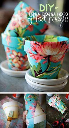 Pretty Floral Flower Pots