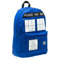 """Dr. Who Tardis Backpack @katie_moser, Jonah said he'd rather have this backpack than the Mario Cart one he has """"are you buying it?"""" He asks."""