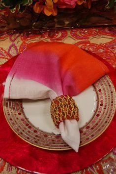 Kim Seybert Designs   Kim Seybert   Beauty Full Orange & Pink