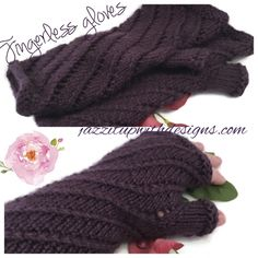 Ladies purple lace fingerless gloves in a soft twisted pattern in perfectly plum caron simply soft yarn #cpromo