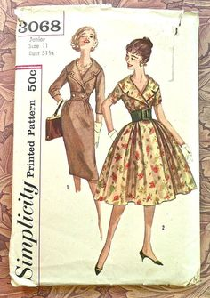 Simplicity 3068  Vintage 1950s Womens Dress Pattern by Fragolina, $22.00