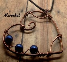 Copper Wire Heart Necklace Blue Pearl Cobalt Blue Azure by marokel