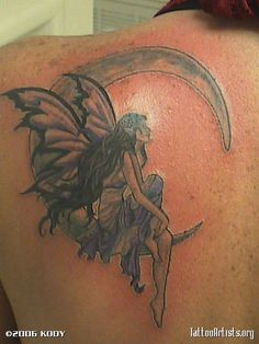 fairy moon tattoo images fairy moon tattoo pictures graphics page I Tattoo, Cool Tattoos, Tatoos, Amy Brown Fairies, Black Fairy, Moon Fairy, Fresh Tattoo, Tattoo Stencils, Tattoo Images