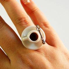 Espresso coffee cup ring - for the Coffee Addict. Best Espresso, Espresso Coffee, Coffee Cafe, Coffee Humor, Coffee Drinks, Coffee Shop, Coffee Lovers, Street Coffee, Coffee Tables