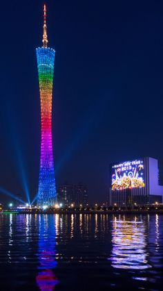 Canton Tower in Guangzhou, Guangdong, China Amazing Buildings, Amazing Architecture, Places Around The World, Around The Worlds, Wonderful Places, Beautiful Places, Vacation Planner, Night City, China Travel