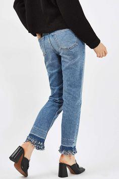 MOTO Fringe And Let Down Hem Straight Leg Jeans