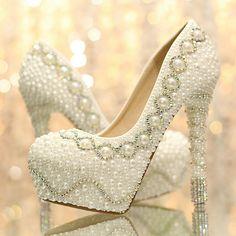 DFS 2014 colorido strass sapatos de noiva sapatos de noiva branco pérola ultra-plataforma bombas dos saltos altos vestido de noiva tamanho 34 a 39 US $69.00