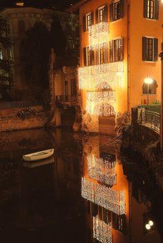 Christmas lights in Lake Como, Italy