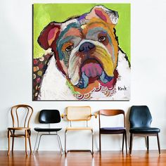 NO Framed! MODERN ABSTRACT LARGE WALL ART OIL PAINTING PRINT ON CANVAS American Bulldog Wall Painting For cute dog animal arts