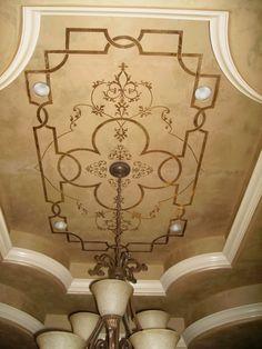 Giovannetti Decorative Studio - Metallic plaster ceiling with gold leaf - Royal Design Modello Lubbock, TX