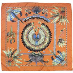 Pre-owned Hermes Orange Silk Feather Scarf ($132) ❤ liked on Polyvore featuring accessories, scarves, silk shawl, feather scarves, hermès, orange silk scarves and orange shawl