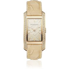 Burberry Diamond Set Watch ($2,060) ❤ liked on Polyvore featuring jewelry, watches, accessories, bracelets, reloj, dial watches, diamond jewelry, rectangle dial watches, nude jewelry and burberry jewelry