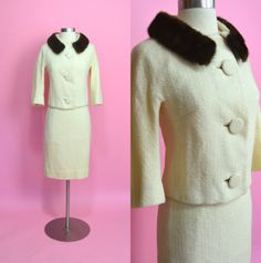 "CUSTOM JUNIORS 1950's 1960's Vintage Cream 2 Piece Set Suit Jacket Pencil Skirt Woven Wool Mink Collar Jackie O Mad Men Wedding 25"" Waist by RubyFayesVintage on Etsy https://www.etsy.com/listing/255965317/custom-juniors-1950s-1960s-vintage-cream"