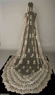 Brussels mixed lace veil 1870's.