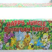 Wish | Jungle Lion and Friends Happy Birthday Party Supplies Plastic Tablecover 1pcs Cartoon Table Cloth for Children (Color: Multicolor)