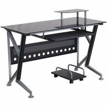 Modern Black Glass Computer Desk with Keyboard Tray and CPU Cart #moderncomputerdesks #homeoffice http://www.officefurnituredeals.com/Black-Glass-Computer-Desk-with-Keyboard-Platform-p/fl-nan-wk-059-gg.htm