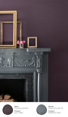 Golden frames are placed upon a gray Fireplace mantle, which pairs well with purple walls. This room features walls in Chambourd AF-645, Aura®, Matte, and a mantle painted with Smoke Gray 2120-40, ADVANCE®, Satin.