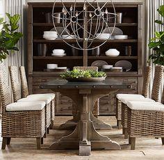 20th C. Reclaimed Pine & Zinc Trestle Rectangular Dining Table