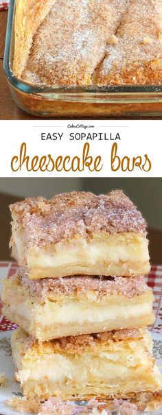 This version of sopapilla cheesecake bars is quick and easy with minimal effort…. This version of sopapilla cheesecake bars is quick and easy with minimal effort. It starts and ends with Crescent Rolls, with simplest cheesecake filling. Brownie Desserts, Easy Desserts, Delicious Desserts, Yummy Food, Easy Dessert Bars, Yummy Snacks, Mexican Dessert Easy, Dessert Blog, Yummy Mummy