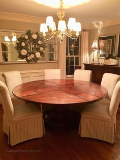 59 to 74 inch Round Solid Walnut Country Style Dining Table Expandable Round Dining Table, Country Style, Designer, Neutral, Room Ideas, Dining Room, Arrow Keys, Close Image, Furniture