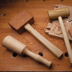 Shop Woodworking If you enjoy making your own tools, as I do, you'll find these three mallets to be a great weekend project. - If you enjoy making your own tools, as I do, you'll find these three mallets to be a great weekend project. Used Woodworking Tools, Wood Tools, Easy Woodworking Projects, Woodworking Bench, Wood Projects, Woodworking Techniques, Sketchup Woodworking, Grizzly Woodworking, Woodworking Projects