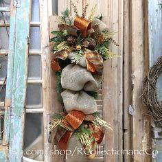 Fall Burlap Pine Door Swag, Door Swag, Wreath, Fall Wreath by RcollectionandCo on Etsy https://www.etsy.com/listing/280543016/fall-burlap-pine-door-swag-door-swag