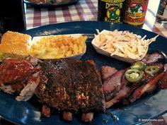 Dinosaur BBQ--Tres Hombres!  Pulled pork, Ribs, brisket, sides. MMMM.