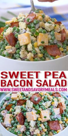 Pasta Salad Recipes 28073 Pea Salad is a classic side dish with a sweet and savory taste that has a creamy and crunchy texture. It is perfect for getaways, potlucks, or parties, and ready in just ten minutes! Pea Salad Recipes, Salad Recipes Video, Healthy Salad Recipes, Salad Recipes For Parties, Pea Salad With Bacon, Bacon Salad, Spinach Salad, Soup And Salad, Pasta Salad