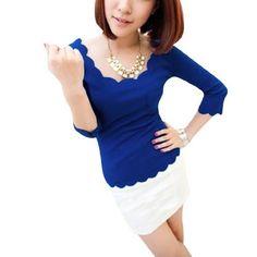 Allegra K Ladies Pullover Long Sleeve Cute Scalloped Cuff Casual Spring Top Shirt Blue XS Allegra K. $8.29