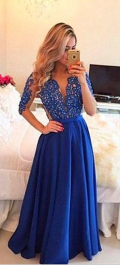 New Arrival Prom Dress,Long prom dresses,navy blue prom