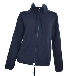 CENTRAL PARK WEST Jacket SMALL Jersey Coat Zipper Yoga Casual Navy Blue NEW #CoatsJackets