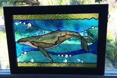 Stained glass humpback whale panel with by LampaMtStainedGlass, $450.00