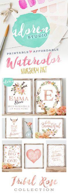 Nursery Printables, Rosegold Nursery, Nursery Prints, Nursery Wall Art, Tribal…