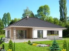 DOM.PL™ - Projekt domu HG-H7 CE - DOM AL1-88 - gotowy koszt budowy Better Homes, House Floor Plans, Bungalow, Gazebo, Shed, Outdoor Structures, House Design, Flooring, How To Plan
