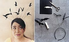 Halloween diy flying bat headband...use this idea for the bats above our haunted houses.