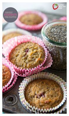 COCONUT STRAWBERRY CHIA MUFFINS! The most delicious healthy breakfast that kids & adults alike will fall in love with! So tasty you'll want one for dessert! http://www.superhealthykids.com/coconut-strawberry-chia-muffins/