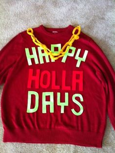 Happy Holla Days Ugly Christmas Sweater by NaughtySweetSweaters . This is the funniest ugly sweater I've ever seen! Best Ugly Christmas Sweater, Tacky Christmas, Christmas Time Is Here, Christmas Holidays, Xmas Sweaters, Holiday Sweater, Christmas Decor, Redneck Christmas, Xmas Shirts