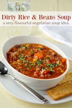 Dirty Rice and Beans Soup - inspired by Cajun dirty rice, this vegetarian soup is not short on flavour, colour or nutrition; a terrific meatless Monday meal.