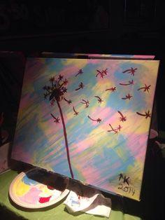 Dandelion puffs Dandelion, Paintings, Night, Simple, Artwork, Work Of Art, Painting, Draw, Taraxacum Officinale
