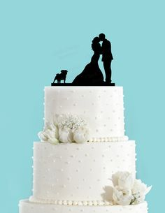 Couple Kissing with Pug Dog Wedding Cake by ChickDesignBoutique