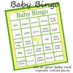 Baby Bingo Party Game for Baby Shower   PRINTABLE- U pRiNt. $3.50, via Etsy.