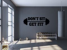 Gym Wall Decal Don't Sit Get Fit Workout Quote Wall | Etsy Workout Room Home, Gym Room At Home, Home Gym Decor, Workout Rooms, Wall Workout, Fitness Workouts, Gym Setup, Gym Interior, Wall Quotes