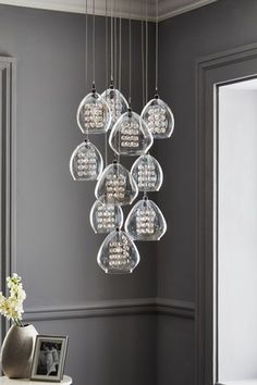 Buy Bella 10 Light Cluster from the Next UK online shop Fabric Shades, Lamp Shades, Light Shades, Pendant Lighting, Light Pendant, Clear Glass, Glass Beads, Hand Piercing, Cluster Lights