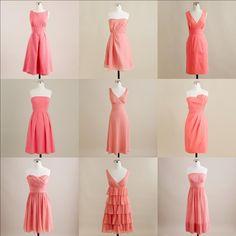 Mismatched Coral J. Crew Bridesmaids Dresses #JcrewDresses