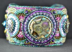 Bead Embroidered Cuff 4 Front | Flickr - Photo Sharing!  I love the colors.  dig