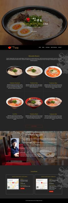 Hakata Ikkousha U. is Japanese ramen restaurant (Hakata Tonkotsu style ramen. Ramen Bar, Ramen Shop, Web Design, Layout Design, Web Layout, Japanese Ramen Restaurant, Ramen House, Restaurant Website Design, Modern Website