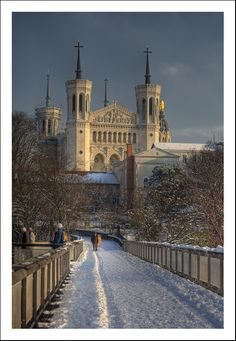 Winter view on the front of the Fourviere basilica from the passerelle des Quatre-Vents, Lyon