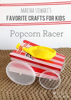 My boys love this! Make this Popcorn Racer or one of the other easy kids crafts in Martha Stewart's new book! www.sisterssuitcaseblog.com #kids #craft