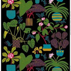 Marimekko Black/Green/Plum Ikkunaprinssi Fabric