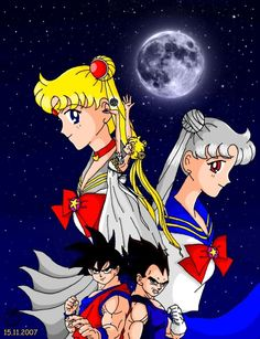 Manga and Anime Sailor Moon and Dragon Ball Crossover